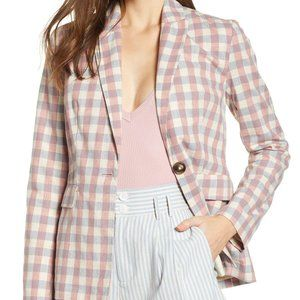 ENGLISH FACTORY Gingham Cotton Linen Blazer